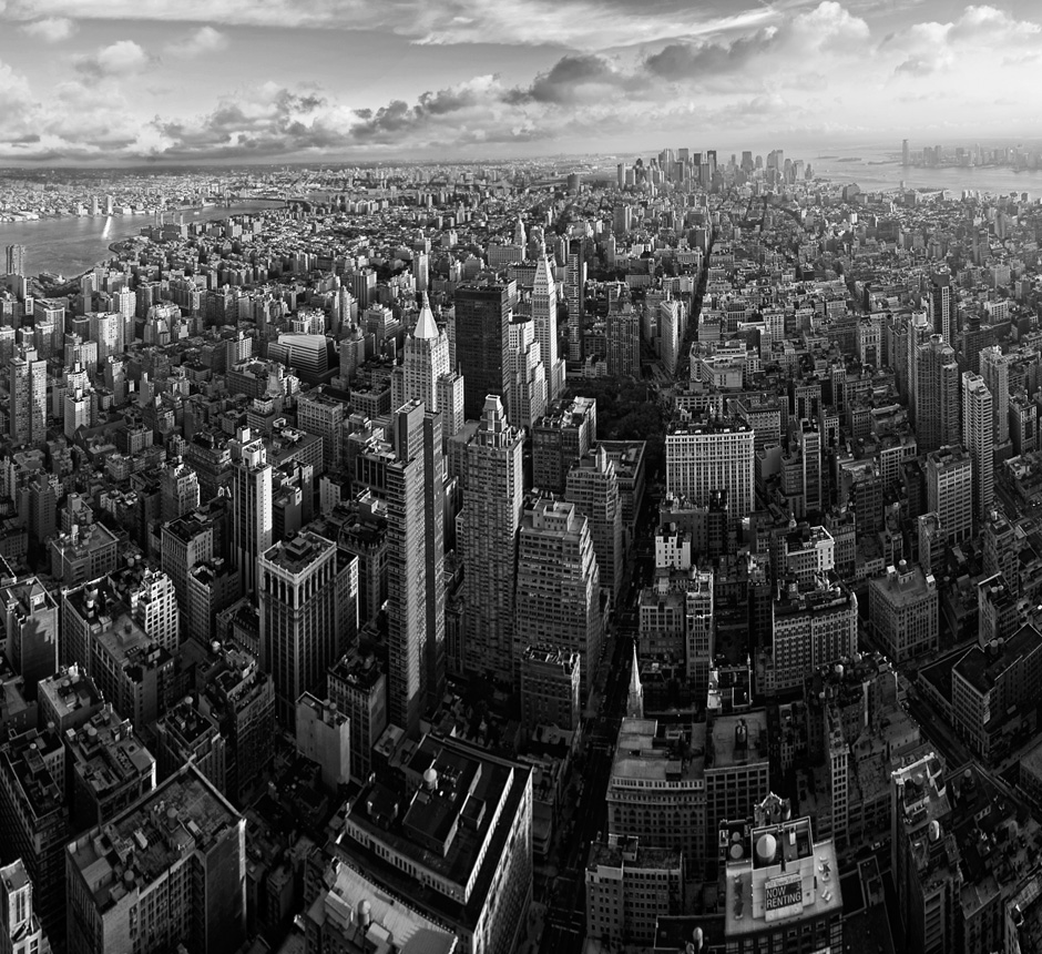 Downtown Manhattan panorama - BW