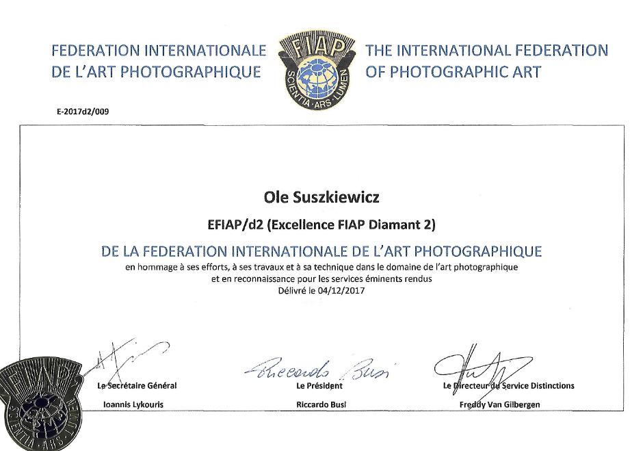 Ole Suszkiewicz EFIAP D2 certifikat